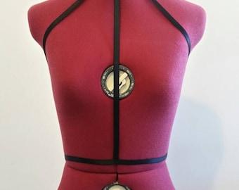 Black elastic strap Body harness lingerie over bra
