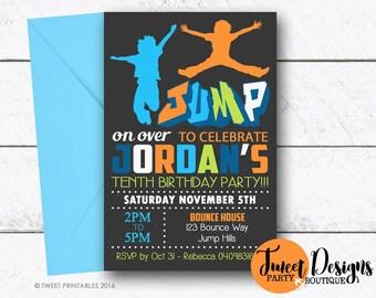 JUMP INVITATION, BOUNCE Invitation, Printable Bounce House Invitation, Trampoline Invitation, Bounce Invitation, Jump Boy Grafitti Birthday