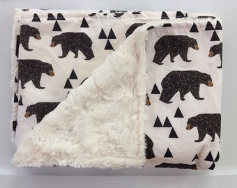 Embroidered Woodland Baby Bear Minky Blanket-Outdoor Lumberjack Rustic Cabin-Modern Geometric Boy Nursery-Baby Shower Gift-Personalized