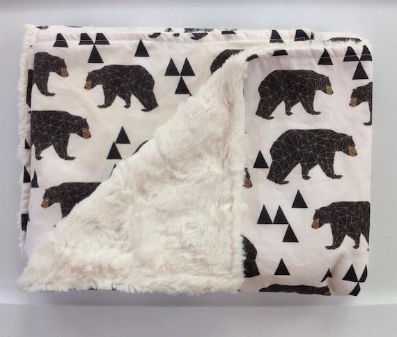 Woodland Baby Bear Minky Blanket Outdoor Lumberjack Rustic