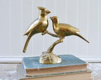 Vintage Brass Cardinal Bird Statue Figurine on Tree Branch Antique Gold