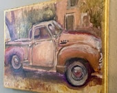 "SALE! Original Painting of a Vintage Truck in Acrylic on Canvas - original acrylic painting - vintage car art - small wall art, 9"" x 12"""