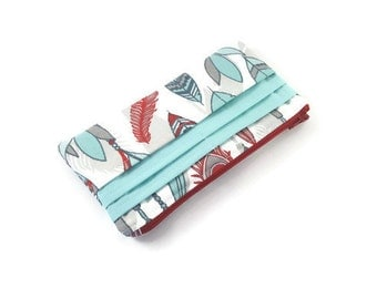 Wallet Zip Pouch in Red and Turquoise Feathers