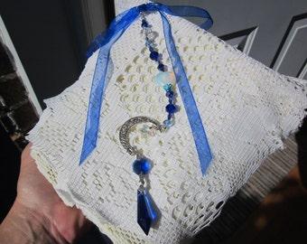 New Collection! SUNCATCHER  w. swarovski CRYSTAL Star, Blue Sapphire pendulum, Crescent moon, Opalite MOONSTONE Heart