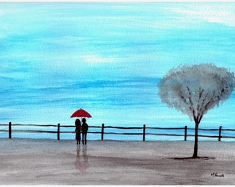 Couple with red umbrella, original watercolour, gift for her, anniversary art 9 x 12 inches