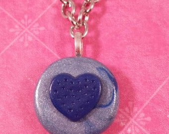 Handmade Polymer Clay Pendant Necklace, Bright Blue Heart on Metallic Blue Swirl Disc, Shiny Silver Tone Link Chain, Gifts for Mom