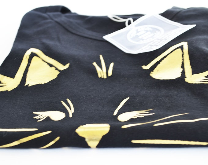 Black Women's Cotton Tank Top Gold Foil Cat by The First Snow