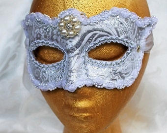 White Brocade Bridal Mask, CUSTOM ORDER White and Silver Brocade and Leather Wedding Party Masquerade Mask