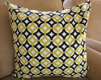 Big Sale !!! Geometrical Print Lime,Black and White Pillow Cover 20x20