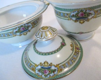 Vintage Meito China Dublin Sugar and Creamer Set for Tea Party, Alice in Wonderland, Garden Party, Bridal Gift