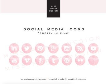 Social Media Icons - PNG Files - for Blogs & Websites - Pretty in Pink - Watercolour - Watercolor