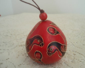 Painted Gourd Ornament. Red gourd with Birds and plants, Dried gourd, Mixed Media Painted Ornament, southwestern style