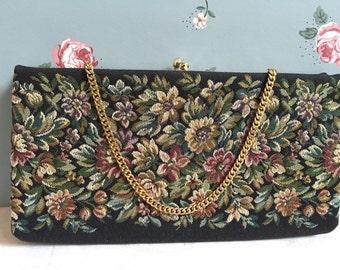 Vintage Antique Black Floral Tapestry Clutch Purse