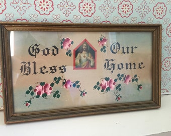 God Bless Our Home Antique Religious Print Painting Wall Hanging