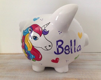 Personalized Hand Painted Piggy Bank With Unicorn and Rainbow Theme