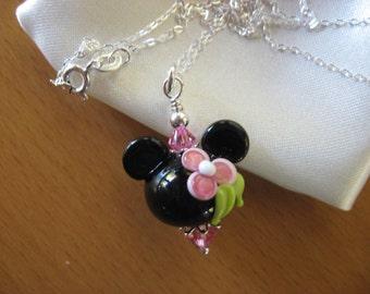 Minnie Pendant Necklace, Minnie Mouse Necklace, Minnie Pink Flower Necklace, Minnie Mouse Jewelry, Disney Pendant Necklace, Disney Cruise