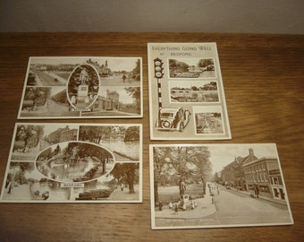 Vintage 1950s postcards of Bedford in England, unused set of four English postcards, English town postcards