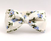 Men's Bow Tie by BartekDesign: pre tied cotton ivory blue flowers soft wedding grooms