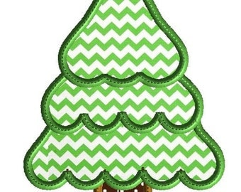 Christmas tree applique, machine embriodery design in 3 sizes, holiday embroidery, instant download
