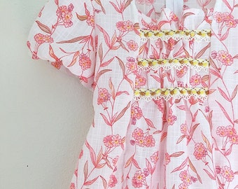 Girls Flower Dress/Vintage Dress/pink dress/Peasant style/70s