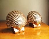 Vintage Brass Shell Bookends, Brass Bookends, Scallop Shell Bookends, Beach Decor, Marine Life, Oceanic, Nautical