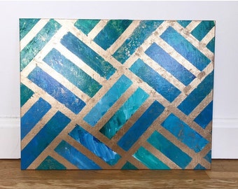 Parquet Pattern Abstract Geometric Textured Metallic Painting