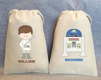 """17- Star Wars Party, Star Wars party Favor Bags,Star Wars favors, Yoda, Leia, Vader, Chewbacca, Hans Solo, R2D2, 5""""x8"""""""