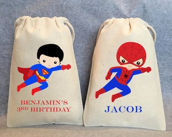 "10-  Superhero party, Superhero Birthday, Superhero favors, Batman Party, Superman, Robin, Superhero Party Favor Bags, Superheroes, 4""x6"""