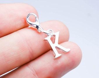 Custom Name Initials for Charm Bracelet. Letter K Initials. Silver Letter K Charm. SCC673