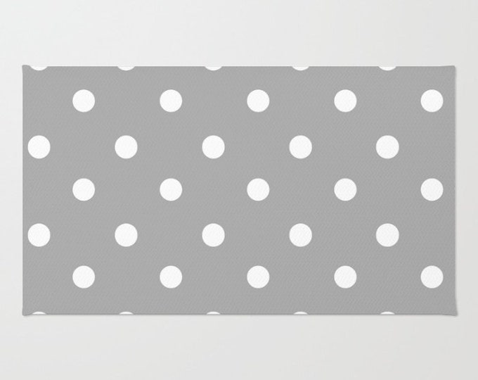 Gray and White Polka Dot Floor Rug - Room Rug - Throw Rug - Accent Rug - Bathroom Rug - Made to Order