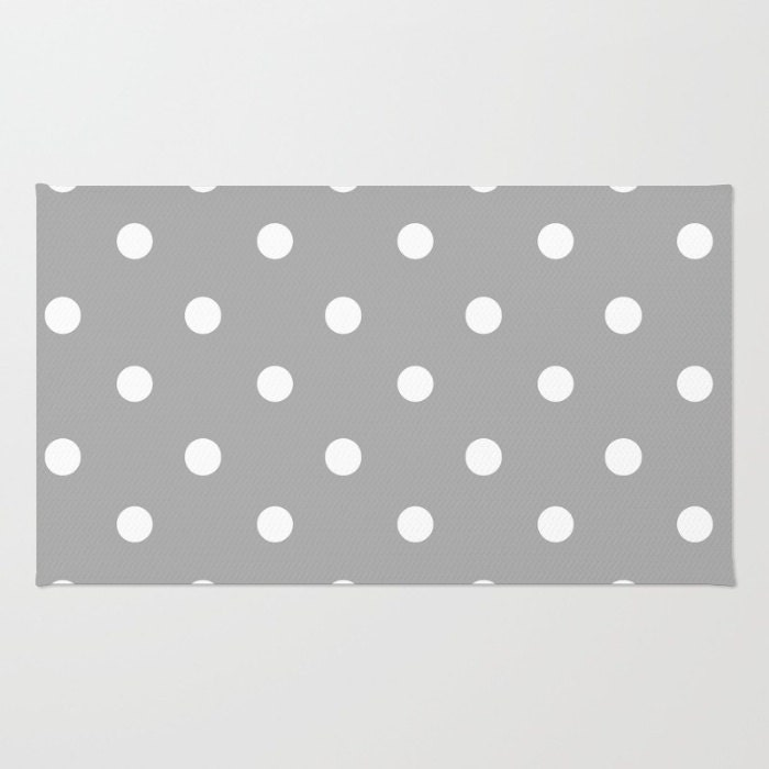 Gray And White Polka Dot Floor Rug Room Rug Throw Rug