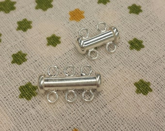 1 Set, Slide Lock Clasp, Sterling Silver, 3-strand or 2-strand Slide Lock Clasp, Necklace or Bracelet Clasp, DIY Supplies, Jewelry Clasp