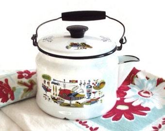 White Enamelware Tea Kettle Mid Century Kitchen Graphics