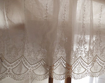 natural cotton lace fabric with hollowed floral pattern