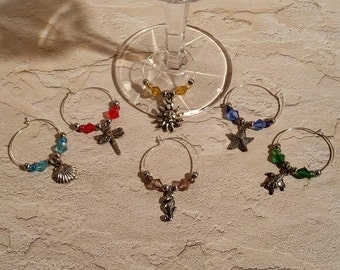Wine Charms - Set of 6 Beach Theme - WC-006