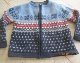 Childs Norwegian Style Jacket Sweater Wool