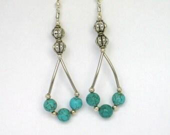 Turquoise Earrings,  Magnesite Earrings, Blue Earrings, Chandelier Earrings, Beaded Earrings, Silver Earrings, Mother's Day