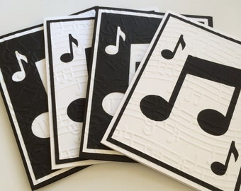 embossed blank musical note cards, hand made cards, embossed cards,silver griffon designs, music lover, christmas gift, custom invitations