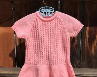 VTG Cloud Soft Pink Knit Sweater Dress Acrylic Sz 12M Mini Skirt