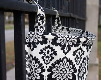 Elegant Black and White Damask Nursing Cover. 100% Cotton. Made in Canada