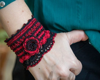 crochet cuff bracelet black and red with glass beads