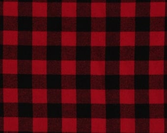 "Flannel Buffalo Plaid 1.25"" Buffalo Check Red Black Woven Cotton Flannel Fabric (op1200-592) D278.20"