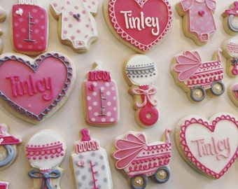 Sweetheart pink and grey baby shower Cookies