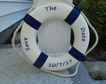 Save The Date personalized life ring/ beach decor / wedding