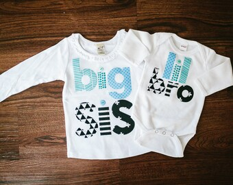 YOU PICK SLEEVES Big Sister Shirt and Little Brother Bodysuit, Big Sis Shirt, Lil Bro Bodysuit, Little Brother, Matching Brother and Sister