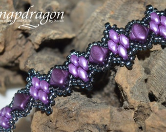 Twin peaks, purple beaded bracelet with toggle clasp