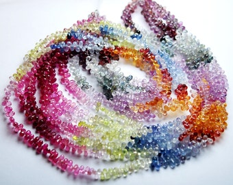 7 Inch Super-FINEST- Natural AAA Multi Sapphire Micro Faceted Drops Shaped Size 4-6mm approx