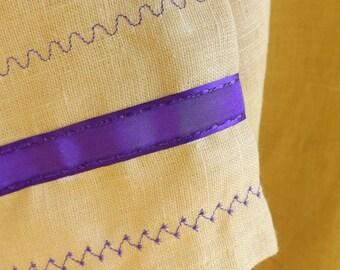 Gideon Gold 100% Linen T-Tunic with Matching Wrap Belt, Purple Ribbon Trim and Purple Decorative Stitching
