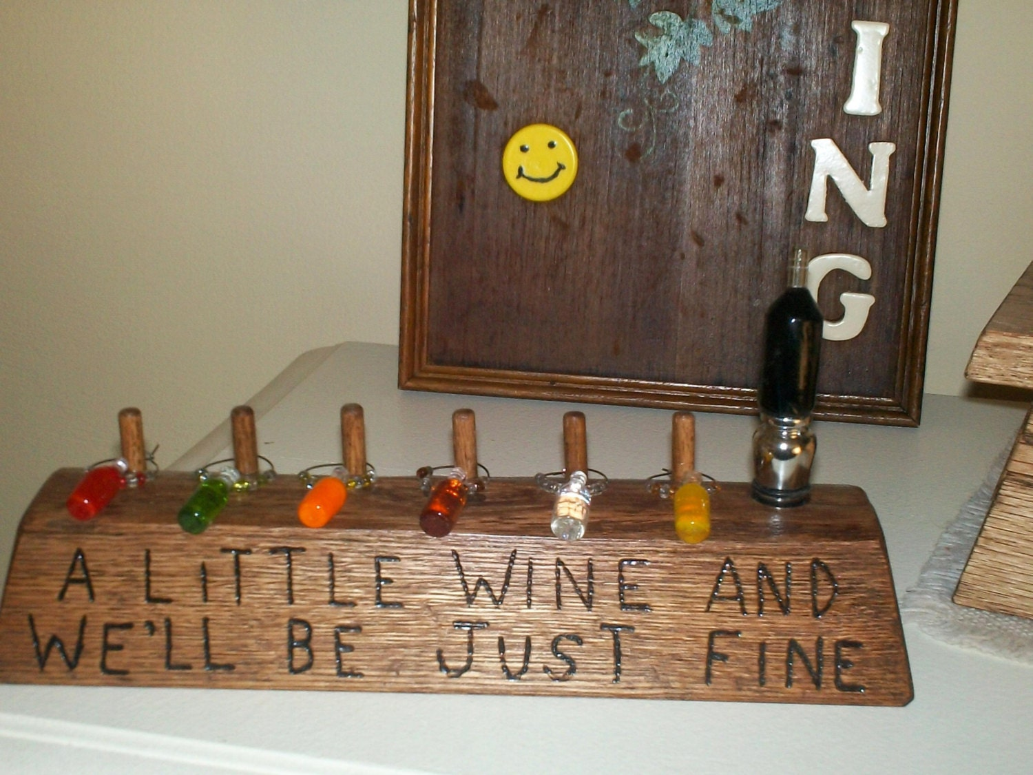 oak log rustic pyrography wine charm holder a by