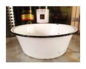 Vintage Enamelware Metal Wash Bowl -White w/ Black Trim- 1950's-1960's